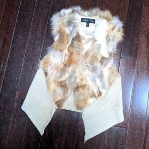 Adrienne Landau Blonde Fox Fur + Knit Vest
